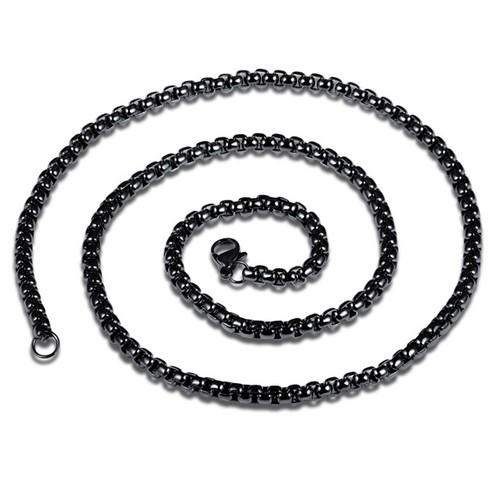 Chavin 75 cm. Uzun Siyah 6 mm. Erkek Çelik Zincir df21