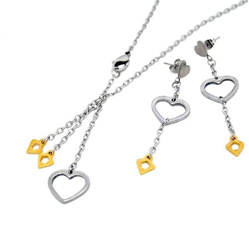 Chavin Kalp Altın Kaplamalı Çelik Bayan Kolye Küpe Set az27