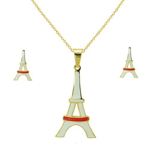 Chavin Mineli Paris Çelik Kolye Küpe Seti cg13