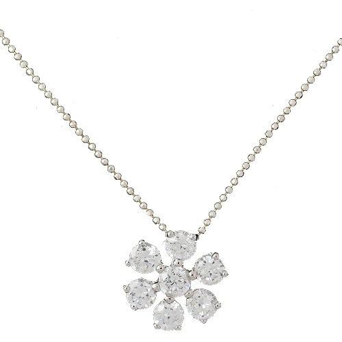 Chavin Zirkon Taşlı Çiçek , Gümüş Bayan Kolye ah21