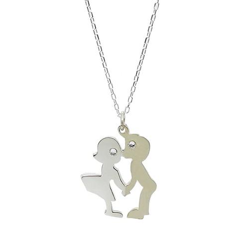 Chavin Kız-Erkek Öpüşen Aşıklar Taşlı Gümüş Kolye cu22