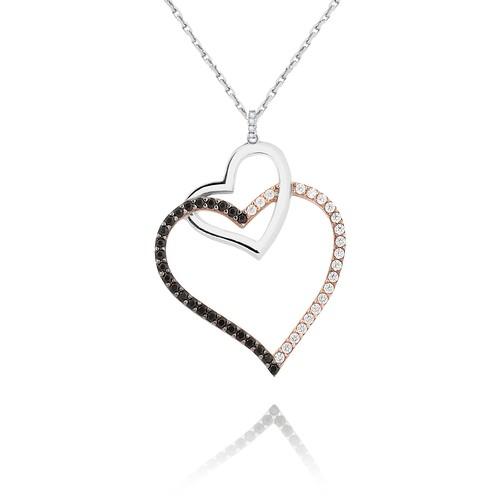 Chavin Siyah Beyaz Zirkon Taşlı Kalp Gümüş Kolye cs10