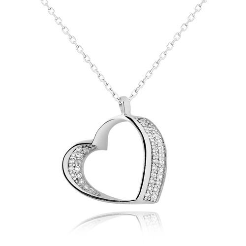 Chavin İki Sıra Taşlı Kalp Gümüş Altın Kaplama Bayan Kolye dd82