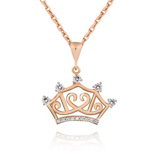 Chavin Kraliçe Tacı Taşlı Gümüş Bayan Kolye cs08
