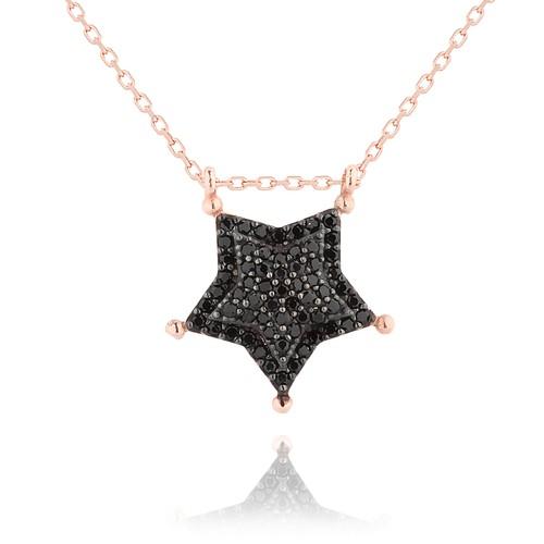 Chavin Siyah Taşlı Şerif Yıldızı Gümüş Bayan Kolye df76
