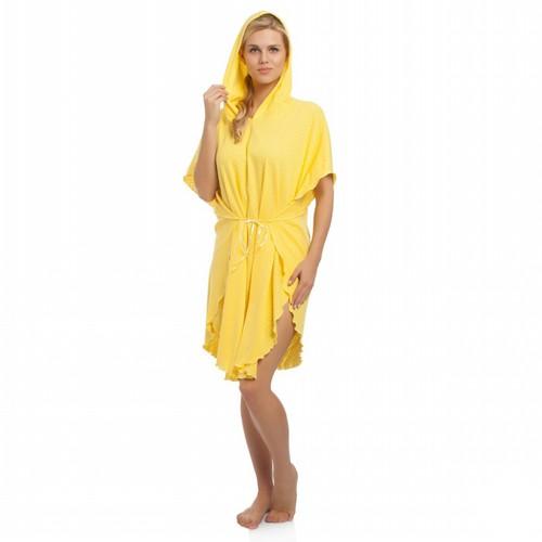 Tril Dalga Yazlık Panço Bornoz& Plaj Kıyafeti - Mimoza Sarı