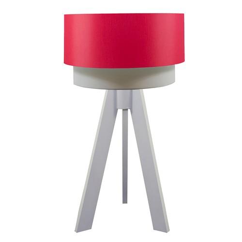 Crea Lighting Doubleshade Beyaz Tripod Abajur Scala - Kırmızı