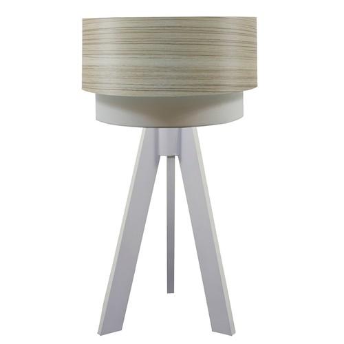 Crea Lighting Doubleshade Beyaz Tripod Abajur Wood - Borame