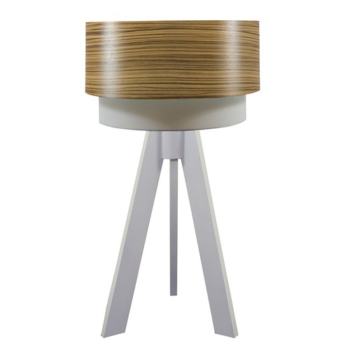 Crea Lighting Doubleshade Beyaz Tripod Abajur Wood - Zeytin