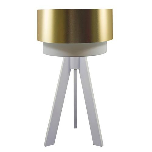 Crea Lighting Doubleshade Beyaz Tripod Abajur PVC - Gold