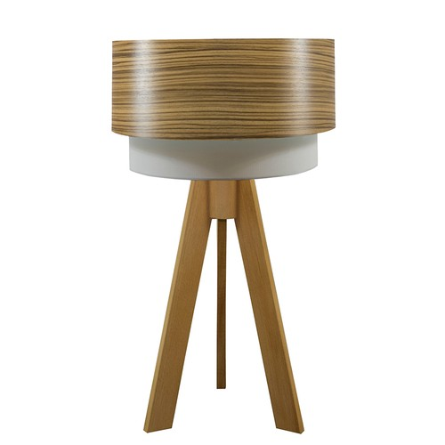 Crea Lighting Doubleshade Naturel Tripod Abajur Wood - Zeytin