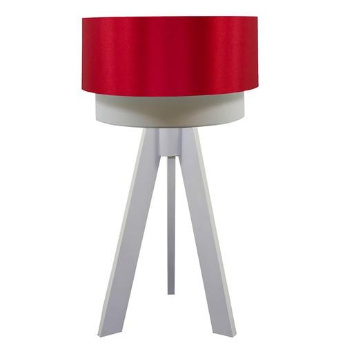 Crea Lighting Doubleshade Beyaz Tripod Abajur Saten - Kırmızı