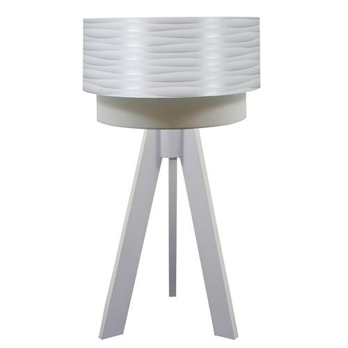 Crea Lighting Doubleshade Beyaz Tripod Abajur PVC - Beyaz Dalga