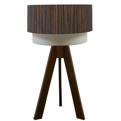 Crea Lighting Doubleshade Ceviz Tripod Abajur Wood - Abanoz