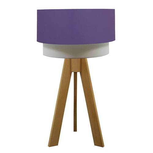 Crea Lighting Doubleshade Naturel Tripod Abajur Scala - Lila