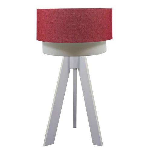Crea Lighting Doubleshade Beyaz Tripod Abajur Keten - Kırmızı