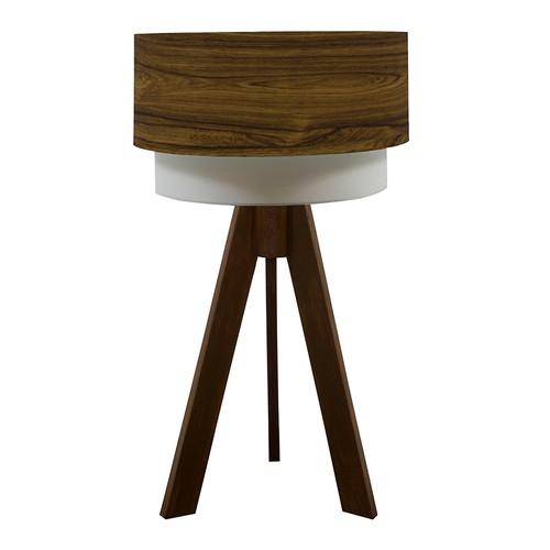 Crea Lighting Doubleshade Ceviz Tripod Abajur Wood - Okaliptus