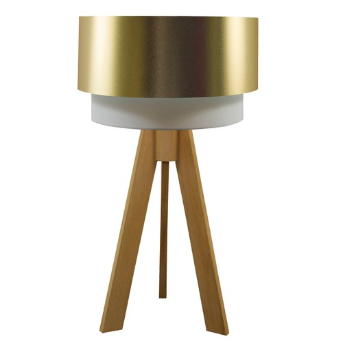 Crea Lighting Doubleshade Naturel Tripod Abajur PVC - Gold