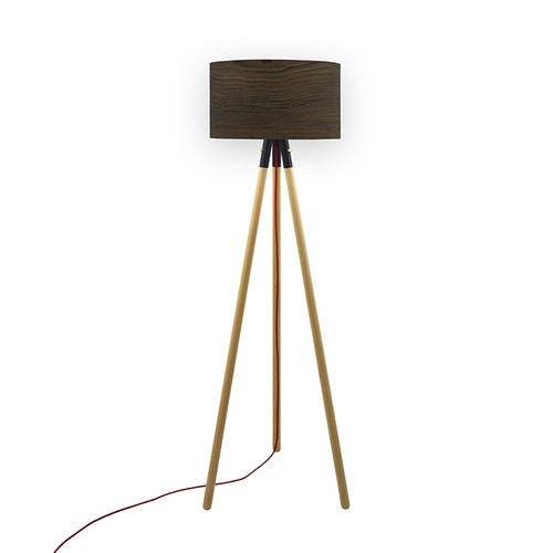 Crea Lighting Trio Wood Naturel Lambader - Doğal Antik