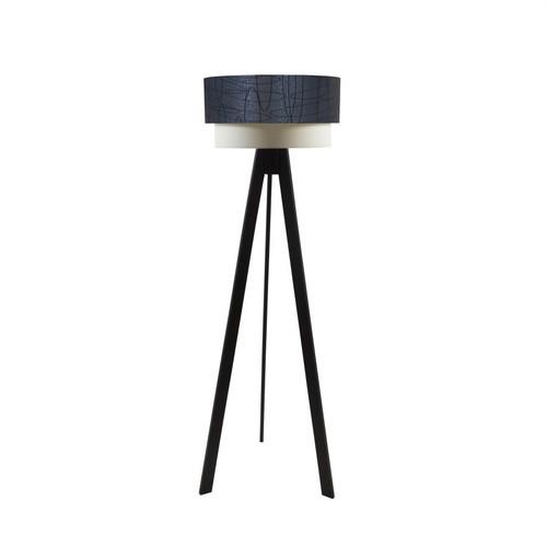 Crea Lighting Doubleshade Siyah Tripod Lambader PVC - Gri Elips