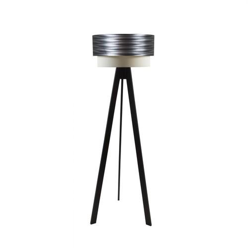 Crea Lighting Doubleshade Siyah Tripod Lambader PVC - Silverline