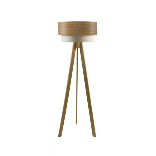 Crea Lighting Doubleshade Naturel Tripod Lambader Wood - Koyu Bambu