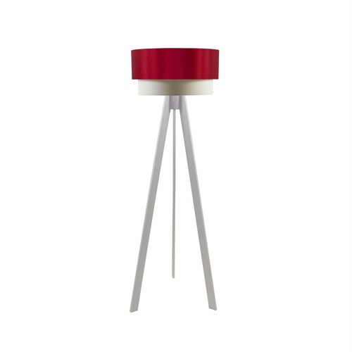 Crea Lighting Doubleshade Beyaz Tripod Lambader Saten - Kırmızı