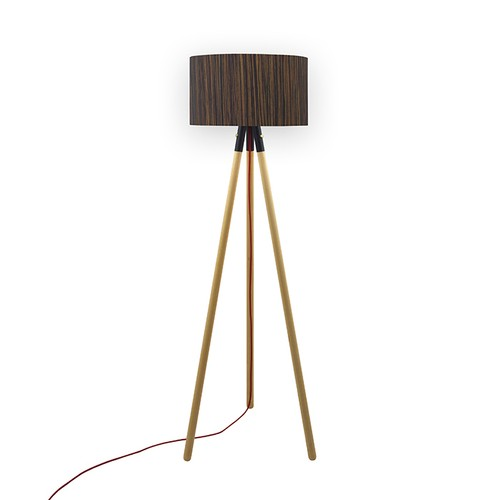 Crea Lighting Trio Wood Naturel Lambader - Abanoz