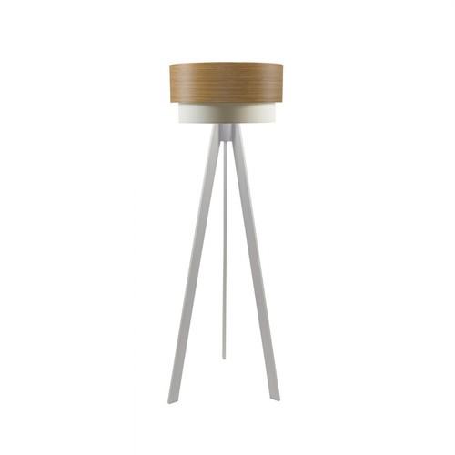 Crea Lighting Doubleshade Beyaz Tripod Lambader Wood - Koyu Bambu
