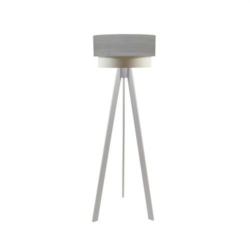 Crea Lighting Doubleshade Beyaz Tripod Lambader Wood - Beyaz Çam