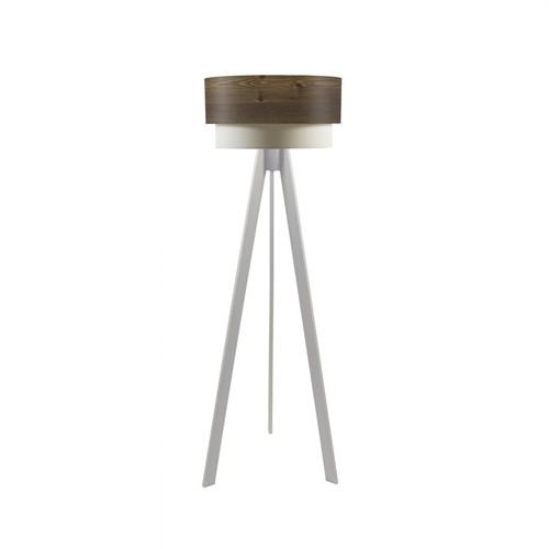 Crea Lighting Doubleshade Beyaz Tripod Lambader Wood - Rustik