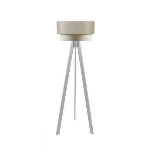 Crea Lighting Doubleshade Beyaz Tripod Lambader File - Sütlü Kahve