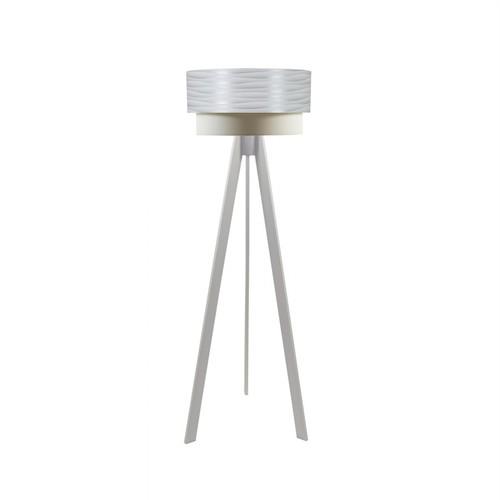 Crea Lighting Doubleshade Beyaz Tripod Lambader PVC - Beyaz Dalga