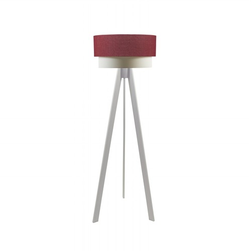 Crea Lighting Doubleshade Beyaz Tripod Lambader Keten - Kırmızı