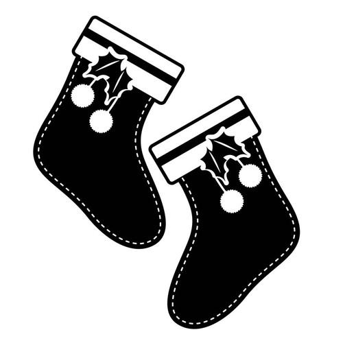 Özgül Grup Yılbaşı Dekoratif Duvar Sticker Çorap   44x37 cm