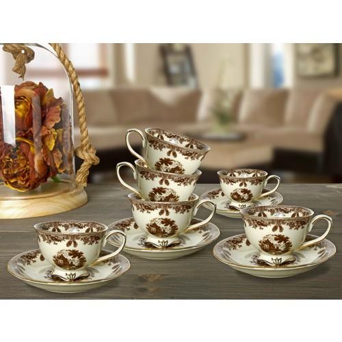 Vitale 12 Parça Kahve Fincanı Seti - Kahverengi