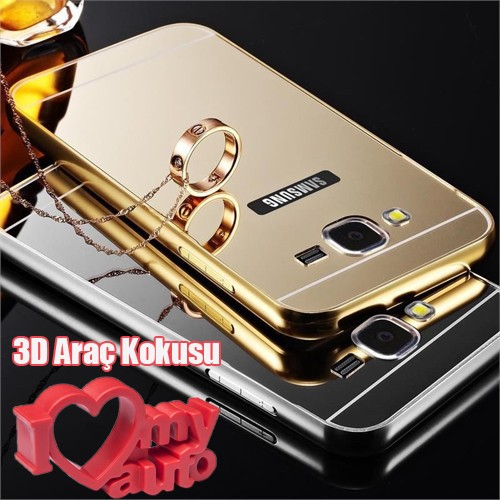 Coverzone Samsung Galaxy J5 216 Kılıf Aynalı Bumper + Kırılmaz Cam Gold + 3d Araç Kokusu