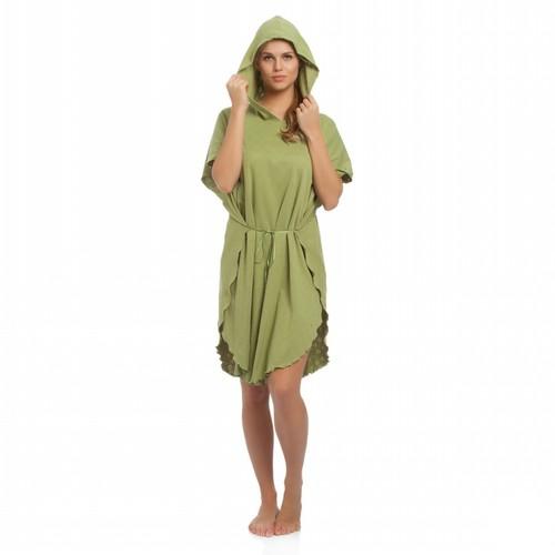 Tril Kalp Yazlık Panço Bornoz& Plaj Kıyafeti - Çimen Yeşili