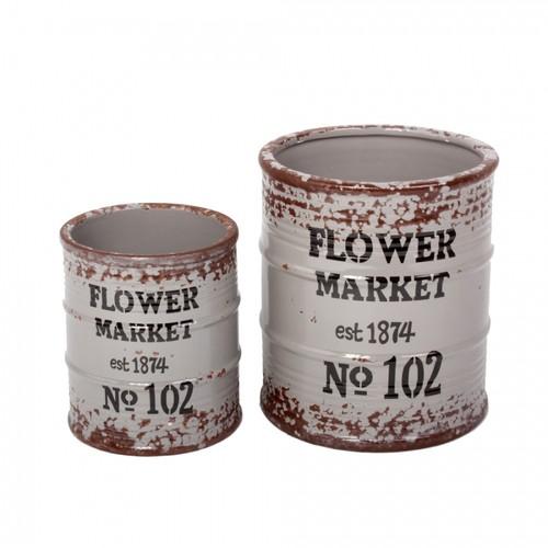 Yedifil 2'Li Gri Çiçek Market Dekoratif Saksı