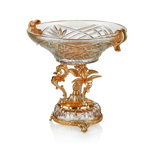 Cemile Altın Kaplama 3 Ayaklı Amber Luster Yuvarlak Meyvelik