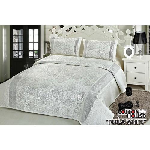 Cotton House Saten Pullu Çift Kişlik Yatak Örtüsü - Perla White