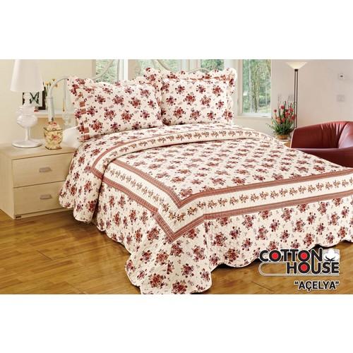 Cotton House Pamuklu Çift Kişlik Yatak Örtüsü - Açelya