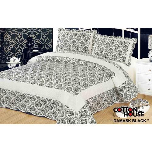 Cotton House Nubuk Çift Kişlik Yatak Örtüsü - Damask Black