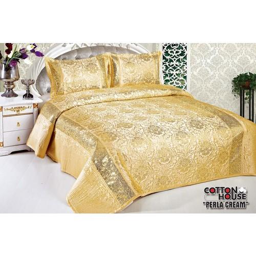 Cotton House Nubuk Pullu Çift Kişlik Yatak Örtüsü - Perla