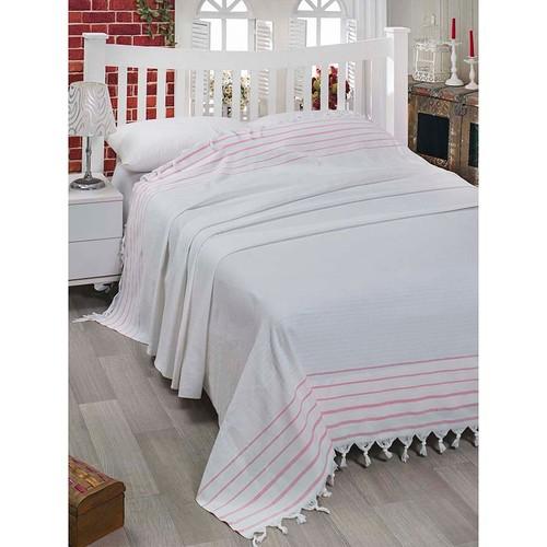 Eponj Home Lüx Geniş Yatak Örtüsü Bodrum Beyaz-Pembe