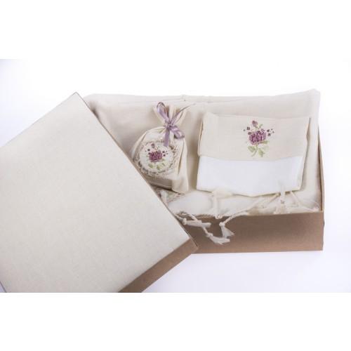 Miss Gaya Peştamal Kutu Set Pembe İşlemeli