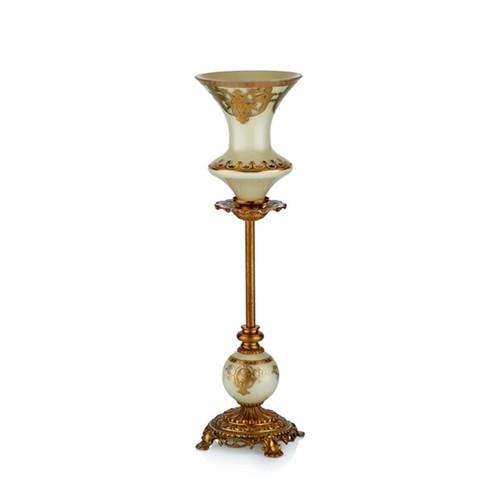 Cemile Bej Üzerine Altın Desenli Tekli Küçük Şamdan