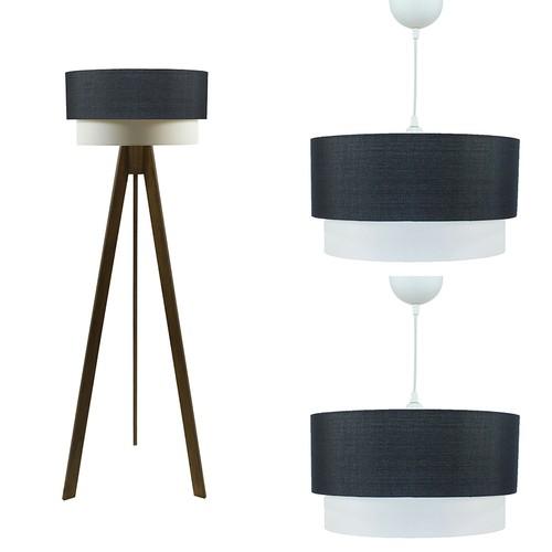 Crea Lighting Doubleshade Ceviz Salon Seti - Keten / Siyah
