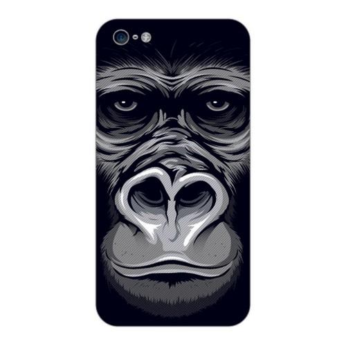 Bordo İphone 4S Kapak Kılıf Goril Baskılı Silikon