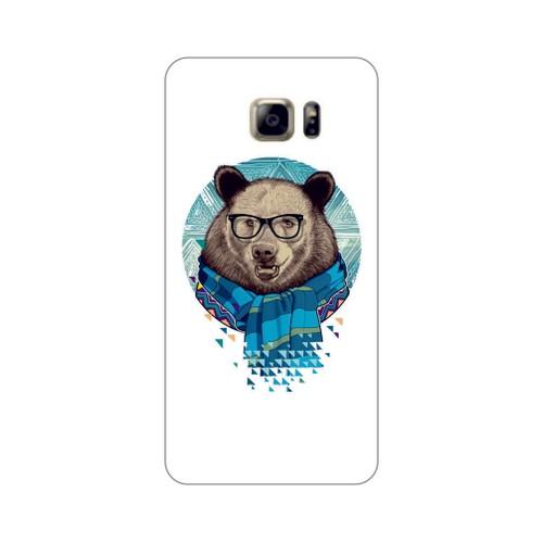 Bordo Samsung Galaxy S6 Edge Kapak Kılıf Ayıcık Baskılı Silikon